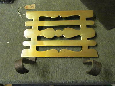 Vintage  Wrought Iron Trivet with  Decorative Brass Plate
