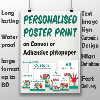 Personalized A1 A0 poster print banner sign printing on Canvas Photo Art Paper