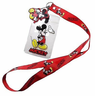 Disney MICKEY MOUSE Red Repeat ID Holder LANYARD Keychain w/Charm