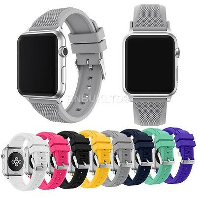 Silicone Sports Replacement Band Wrist Strap For Apple Watch (Series 1/2 & 3)