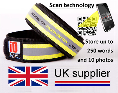 iDME wristbands with QR code storing up to 1500 characters & 10 photos of data~
