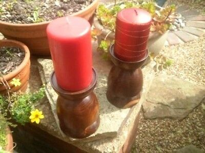 Pair of turned wood pillar candle candlesticks, solid wood holders, treen