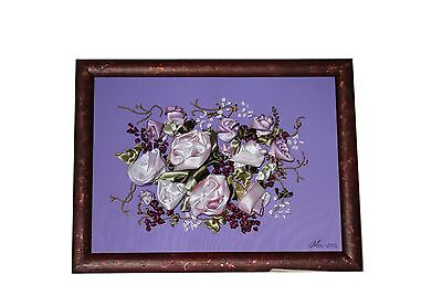 Silk Ribbon Embroidery Roses Handmade Folk Art signed with frame