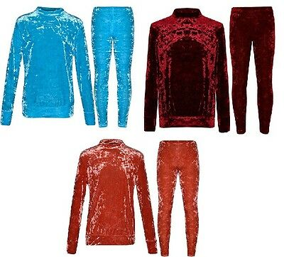 New Girls Kids Boohoo Crushed Velvet Velour Tracksuit Fleece Outfit Set Age 5-13