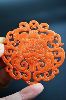 Perfect Chinese old jade hand carved bats lucky pendant G13