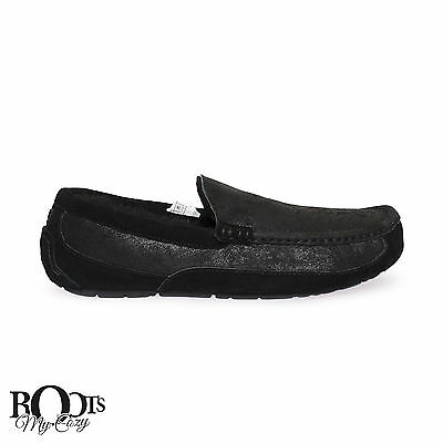 Ugg Ascot Bomber Leather Black Men`s Moccasin Slippers Size Us 12/uk 11 New