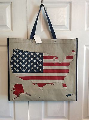 NEW Shopping Bag Reusable Travel Tote Red White Blue USA Marshalls Homegoods NWT