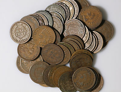 Roll (50 ct) Indian Head Cents, Average Circulated or Better, Free Shipping!
