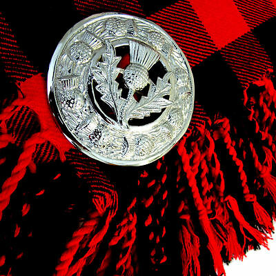 "Kilt Fly Plaid Brooch Thistle Crest Chrome 3""/Scottish Fly Plaid Brooches/pins"