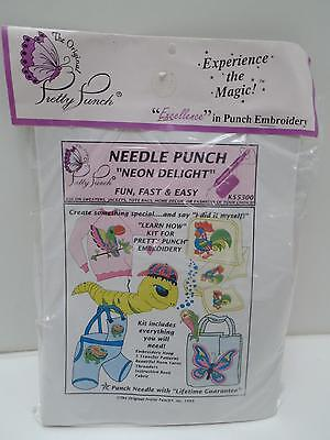 Pretty Punch Embroidery Kit KS5300 Insects Animals Butterfly Worm Neon New Yarn