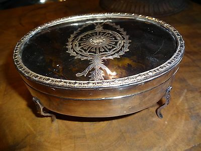 Vintage Silver Plate ? Covered Inlaid Vanity Box/4 Legs, Jewelry