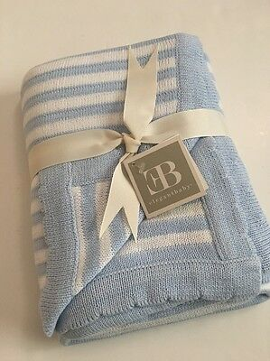 Elegant Baby Boy Striped Knit Blanket White Blue Layette 30x40""