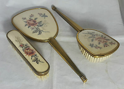 Beautiful Vintage Petit Point Hand Mirror and Brushes Set