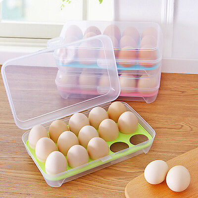 Plastic Refrigerator Egg Storage Box Case 15 Eggs Holder Food Storage Container0