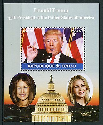 Chad 2016 MNH Donald Trump Melania 1v M/S US Presidents Stamps
