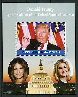 Chad 2016 CTO Donald Trump Melania 1v M/S US Presidents Stamps