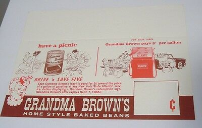 1964 Grandma Brown's Beans Atlantic Gas Store Display Sign Shelf Card Mexico NY