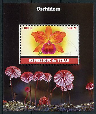 Chad 2017 CTO Orchids 1v M/S Flowers Stamps