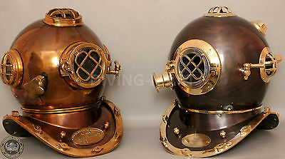 Combo Offer U.S Navy Mark IV and V Solid Copper, Steel and Brass Diving Helmet