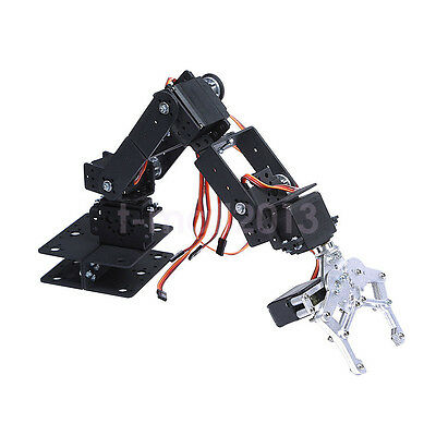 1 Set 6 DOF Aluminium Mechanical Robotic Arm Clamp Claw Mount Robot Kit Black