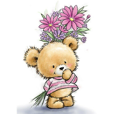 """Wild Rose Studio Ltd. Clear Stamp 3.5""""X3""""  Teddy With Flowers WRSCL490"""