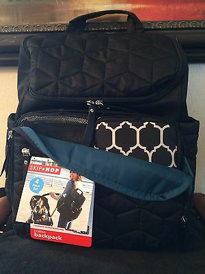 NWT SKIP*HOP Forma backpack-diaper bag in quilted black- 4 piece set!