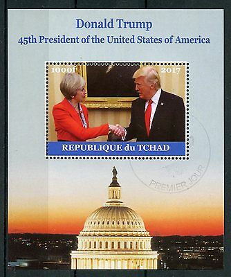 Chad 2017 CTO Donald Trump Meets Theresa May 1v M/S US Presidents Stamps
