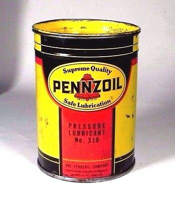 vintage  PENNZOIL gasoline oil PRESSURE LUBRICANT NO 310 gas auto TIN CAN