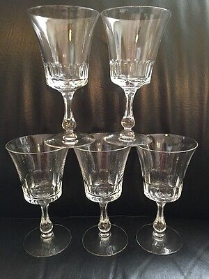 "Set of 5 Fostoria Georgian 6 3/4"" Water Goblets Glasses Crystal Stemware 6097"