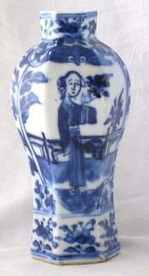 Late C18Th / Early C19Th Chinese Blue And White Six Sided Vase With People A/f