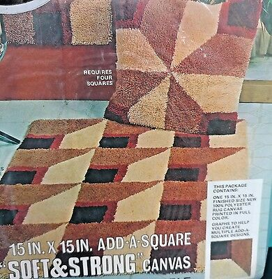 "Red Heart Rug Pattern 6607-03 Variations 15""X 15"" Add a Square Canvas New"