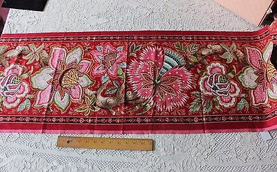 Rare Antique French Jacobean/Indienne Handblocked Printed Border Fabric c1830-40