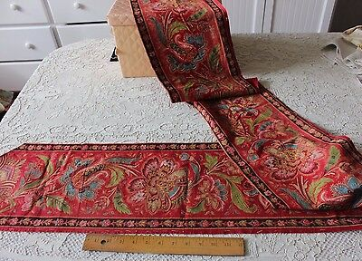 Rare French Antique Jacobean/Indienne Vibrant Home Border Printed Fabric c1820