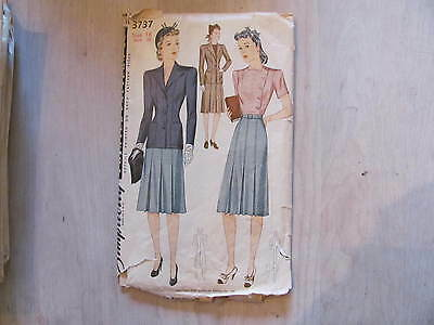 Vintage Sewing Pattern 1940's Simplicity sz 18