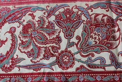 Antique French 1860-70 Jacobean Indienne Home Cotton Border Fabric~Turkey Red
