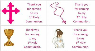 40 x Personalised 1st Holy Communion/Girls labels/stickers/party/cake/sweets/bag