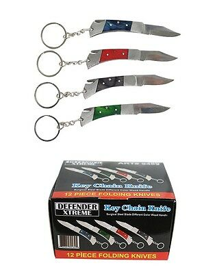 "WHOLESALE Lot of 12pc DEFENDER 4"" Folding Stainless Keychain Pocket Knives NEW"