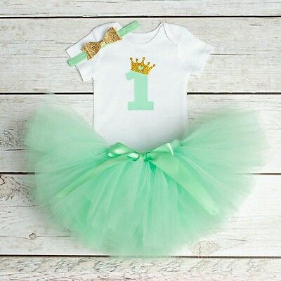 Baby Girl 1st First Birthday Tutu OUTFIT Dress Shoes Romper cake smash 10-12m