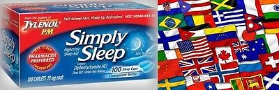 Simply Sleep Nighttime Sleep Aid Tablets 100ct -FREE WORLDWIDE SHIP* Tylenol Pm