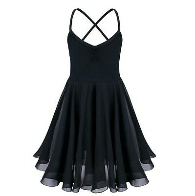 Lyrical Dance Ballet Leotard with attached Skirt Voile Dress Girls Contempoary