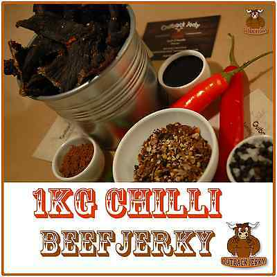 BEEF JERKY CHILLI 1KG Hi PROTEIN LOW CARBOHYDRATE DIET PRESERVATIVE FREE SNACK
