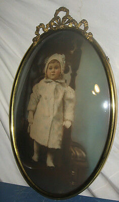 """Antique Large Brass Victorian Convex Bubble Frame  Colored 22""""1/2X14""""1/2 Toddler"""