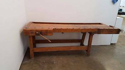 Antique Industrial Workbench Carpenters Work Table With Two Working Vices
