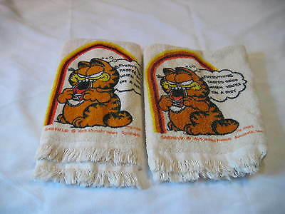 """Pair of Vintage Garfield Hand Towels/Kitchen Towels """"Everything tastes great"""""""