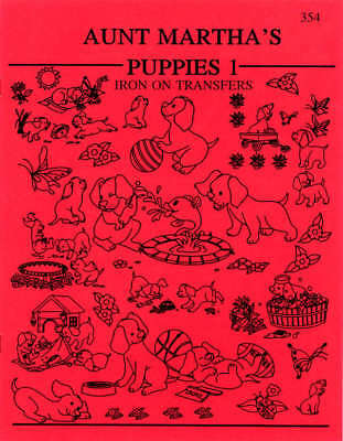 Aunt Martha's Iron On Transfer Book Puppies TPB-354