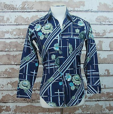 Vtg 70's Sausalito Weavers of California Men's Blue Disco Shirt Smiths small S