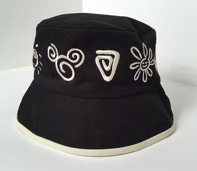 Walt Disney World Bucket Hat Adult Black Embroidered %100 Cotton