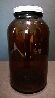 Stock Druggist Apothecary Amber Glass Bottle f Quaalude 300 mg embossed on btm