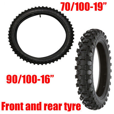 Front & Rear Tires 70/100-19 & 90/100-16 with Tubes for Dirt Pit Bike Motocross