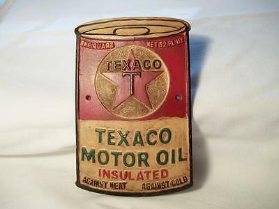 Texaco Motor Oil Insulated Can Aluminum Sign Plaque Gas Station One Quart